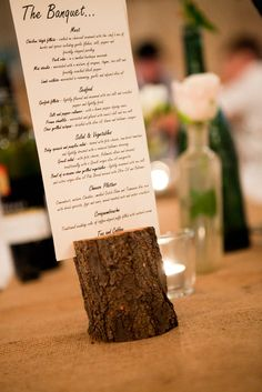 A rustic way to display your menu on each table.