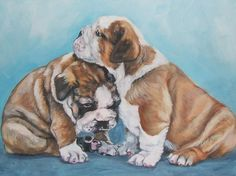 English Bulldog art print CANVAS print of LA by TheDogLover - LA Shepard