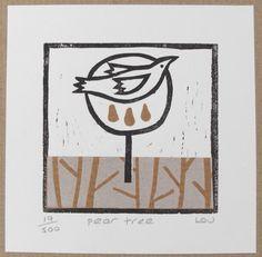Christmas card - 'pear tree' linocut £4.00