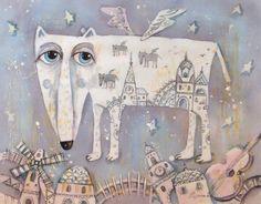 """Елена Разина.Батик.""""Одинокий волк-бродяга"""" http://razinalena.gallery.ru/"""