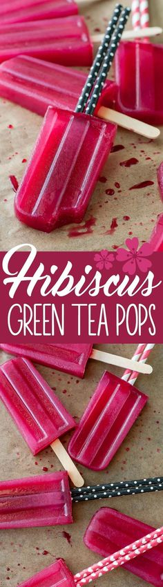 Baby it's HOT outside! Cool down with these refreshing Green Tea Hibiscus Pops, because the only thing better than iced tea is FROZEN tea!