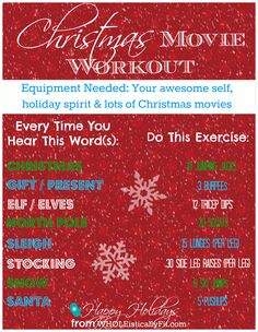 Have you been choosing Buddy The Elf over your workout? Try out this at-home workout you can do while watching your favorite holiday movies. No equipment needed. Via www.WHOLEisticallyFit.com