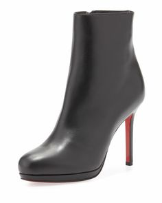 Christian Louboutin - Bootylili Leather Red Sole Ankle Boot, Black