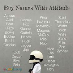 Boys Names with attitude; Pretty Names, Cute Baby Names, Unique Baby Names, Boy Names, Name Inspiration, Writing Inspiration, Book Writing Tips, Writing Promps, Fantasy Names