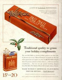 1937 Vintage Advert - Pall Mall Cigarettes Christmas Gift Packs