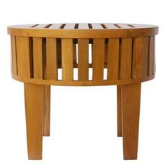 WITHOUT THE LEGS: Natural Teak Wood Slatted Round Coffee Table | Overstock.com Shopping - Great Deals on Coffee, Sofa & End Tables