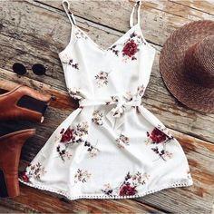 White Flowers Sexy Strap Beach Dress