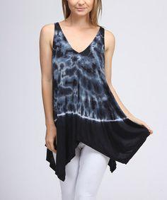 Look at this #zulilyfind! Midnight Blue Tie-Dye Sleeveless Handkerchief Top by Urban X #zulilyfinds
