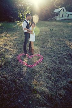 simple & cute rustic engagement photos. not so much a rustic fan, but i love the floral heart!