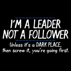 I'm A Leader Not A Follower, Unless It's A Dark Place, Then Screw It, You're Going First T-Shirt