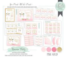 Unicorn Birthday Party Package- Printable PDF files. Pink and glitter gold. Includes cupcake topper invite signs favor tag invite & more