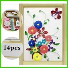 16 colorful Quilling Paper Craft Kits 14Pcs Tool set Rolling Strips DIY Collection Home Decoration Crafts manualidade Decorating