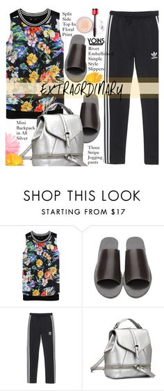 """""""Yoins - Edgy Floral Print"""" by beebeely-look ❤ liked on Polyvore featuring adidas Originals, floralprint, edgy, yoins, yoinscollection and loveyoins"""