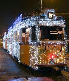 Christmas tram in Budapest 33 Christmas Travel, Outdoor Christmas, Christmas Lights, Christmas Baubles, Christmas Holidays, Patio Lighting, Tree Lighting, My House In Budapest, White String Lights