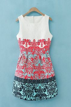 : white, coral, and turquoise dress