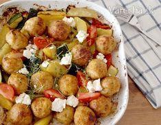 Chicken meatballs in oven Chicken Meatballs, Feta, Potato Salad, Oven, Potatoes, Vegetables, Ethnic Recipes, Foods, Food Food
