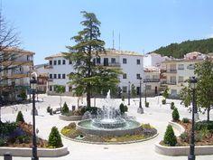 The town square, Plaza del Prado, Villanueva del Trabuco, Andalucia, Spain.