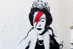 The Queen as David Bowie's Aladdin Sane by Banksy