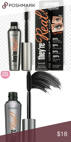 Benefit (black) They're real mascara They're Real! lengthens, curls, volumizes, lifts & separates. The long-wearing formula won't smudge or dry out. A specially designed brush reveals lashes you never knew you had!  94% saw dramatic length & volume* 90% saw base-to-tip curl* 94% saw visible lift* 100% saw long-wearing results* They're Real! Lengthening Mascara is the #1 best-selling Prestige Mascara in the US* New unused may or may not include box. Full size Benefit Makeup Mascara
