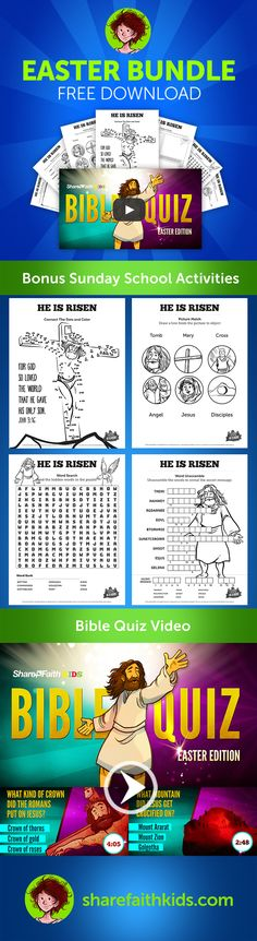 Free Easter Download: Bible Quiz Video & 7 Activities!!! Check out the linked article to get your free download, check out our new Easter lesson and get huge savings (up to 25%) on all Sharefaith membership plans.
