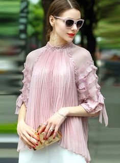 Shop Sweet Loose Lantern Sleeve Stand Collar Blouse With Camis at EZPOPSY. High Collar Blouse, Leotard Fashion, Fancy Tops, Batik, Caftan Dress, Stylish Tops, Sweet Dress, Muslim Fashion, Classy Outfits