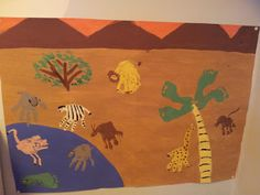 handprint and footprint african animals. This would be so great as a collaborative class bulletin board!