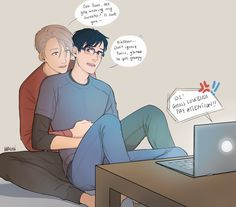 """hachidraws: """"Poor Yurio can't catch a break, even over long distance video calls (Viktor you act oblivious but we all know otherwise) """""""