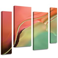 'Flow Abstract I' by Cora Niele 4 Piece Painting Print Gallery-Wrapped on Canvas Set