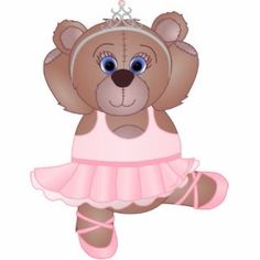 Cute Little Ballerina Cartoon Teddy Bear in Pink Photo Cut Out