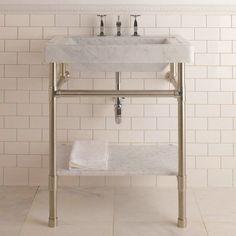 Stone Forest Console Sink Circa Marble Top – at Improve Canada vendor Canaroma Bath & Tile 1930s Bathroom, Small Bathroom, Ada Bathroom, White Bathroom, Bathroom Renos, Bathroom Interior, Bathroom Ideas, Industrial Bathroom, Bathroom Inspo