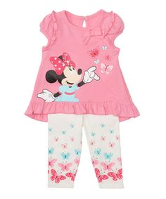 Look at this #zulilyfind! Pink Minnie Mouse Cap-Sleeve Tee & Legging Set - Infant by Disney Baby #zulilyfinds