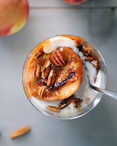 The perfect summer recipe: Grilled Peach Sundaes with Pecans and Salted Bourbon-Caramel Sauce