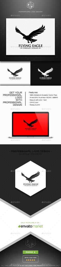 Flying Eagle Logo Template — Transparent PNG #falcon #flying • Available here → https://graphicriver.net/item/flying-eagle-logo-template/15505647?ref=pxcr