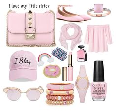 """For My Little sis"" by raeanna71306 ❤ liked on Polyvore featuring Valentino, Gianvito Rossi, Love Quotes Scarves, Steve Madden, Le Specs, MANGO, Kate Spade, Adolfo Courrier, Clarins and Miadora"
