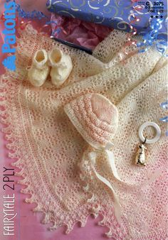 Patons 3075 Shawl, Booties and Bonnet