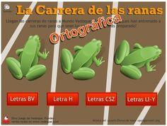 """""""La carrera ortográfica de las ranas"""", de Vedoque, es un sencillo juego en el que hay que hacer avanzar la rana propia hacia la meta y vencer así en la carrera al resto de ranas. Para hacerlo hay que decir si una palabra está bien escrita o no.  Las carreras ortográficas planteadas están relacionadas con la ortografía de b-v, h, c-s-z, ll-y."""