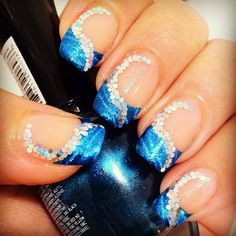 Blue french tip with sparkles