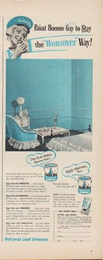 """Description: 1949 NATIONAL LEAD COMPANY vintage print advertisement """"Dutch Boy ... the 'Wonsover' Way!""""""""One Coat Makes Rooms New! Give Wonsover the once-over at your """"Dutch Boy"""" dealer's."""" Size: The dimensions of the half-page advertisement are approximately 5.5 inches x 14 inches (14cm x 36cm). Condition: This original vintage advertisement is in Very Good Condition unless otherwise noted ()."""