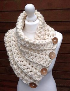 Knitting Patterns Scarf Cream Chunky Scarf Crochet Cowl Knitted Scarf by CloversCrochet Chunky Crochet Scarf, Crochet Poncho, Crochet Scarves, Crochet Clothes, Crochet Buttons, Crochet Stitches, Crochet Dolls Free Patterns, Crochet Ideas, Knitting Patterns