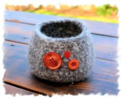 Felted Bowl with Buttons.