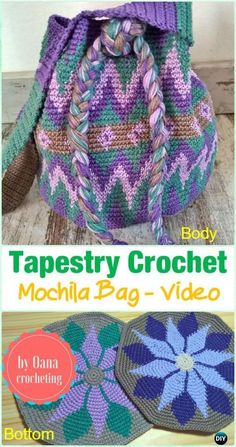 Crochet Purses Ideas Tapestry Crochet Mochila Bag Free Pattern Video -Tapestry Crochet Free Patterns - Wayuu Mochila Tapestry Crochet Free Patterns Tips Mochila Crochet, Bag Crochet, Crochet Shell Stitch, Crochet Handbags, Crochet Purses, Crochet Crafts, Crochet Stitches, Free Crochet, Tapestry Crochet Patterns