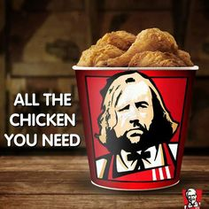 """KFC posted this after the premiere of Game of Thrones. At KFC, """"The Hound"""" can get all the chicken he needs. Game Of Thrones Food, Game Of Thrones Funny, Winter Is Here, Winter Is Coming, Kfc, Radios, Game Of Trone, Morning Memes, My Champion"""