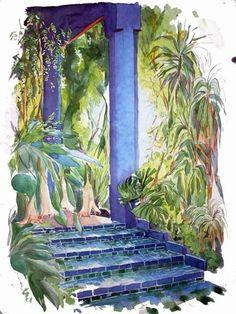 Datura - Majorelle - Marrakech - Peinture, 60x80 cm ©2008 par Catherine Rossi - Marrakech, Landscape Illustration, Illustration Art, 3 Piece Canvas Art, Raoul Dufy, Black Art Painting, Academic Art, Porches, Urban Sketching