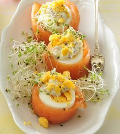Canapes, Sushi, Buffet, Dinner Recipes, Appetizers, Eggs, Easter, Vegetables, Cooking