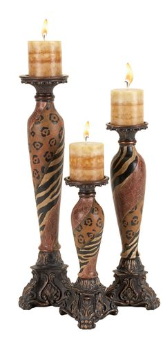 Leopard print candle sticks.