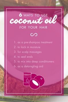 6 ways to use coconut oil for your hair! Hairfinity hair vitamins exclusive Capilsana Complex provides naturally occurring building blocks of the hair, including sulfur, silica and 18 amino acids, which encourage healthier, stronger, longer hair from the inside out. SEE MORE at http://hairfinity.com/blog/?s=coconut+oil