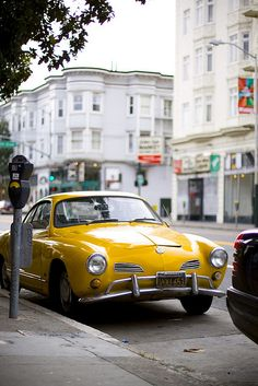 yellow karmann ghia, vw