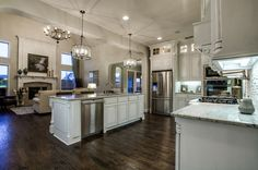Distinctive white cabinets are a memorable feature in this newly built home by Shaddock Homes. The Villages of Stonelake Estates community in Frisco, TX.