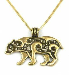 Celtic Bear Talisman Bronze Pendant Necklace Made in USA - This bronze Celtic bear talisman necklace, handcrafted in America, is a symbol of courage and patience.  $24.95