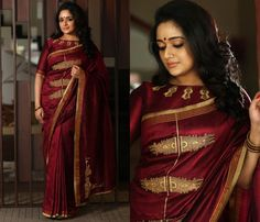 Check out the spellbinding collections from Kavya Madhavan& Laksyah label. From artistic sarees to chic designer drapes, you have everything here. Simple Blouse Designs, Stylish Blouse Design, Saree Blouse Designs, Dress Designs, Indian Designer Outfits, Designer Dresses, Designer Sarees, Indian Bridesmaid Dresses, Engagement Saree